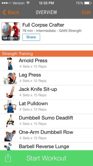 Snapshot of GAIN Strength workout